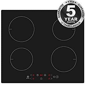 Induction Hobs, PALDIN Black Glass Built-in 4 Zone 7600W 60 centimetre Electric Induction Cooker with Sensor Touch Control