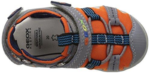 Geox B Sandal Agasim Boy D, Scarpe Primi Passi Bimbo Grigio (ORANGE/GREYC0437)