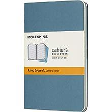 Moleskine - Cahier Journal - Ensemble de 3 Carnets avec Pages Ligné - Couverture en Carton et Piqûres de Coton Apparentes - Couleur Vert D'Eau - Taille Format de Poche 9 x 14 cm - 80 Pages