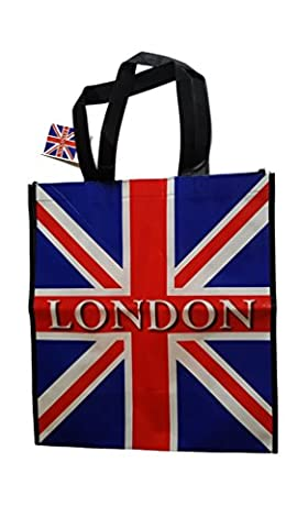 Union Jack Bag with White London Word - Tote Reusable
