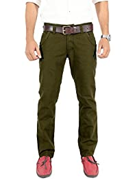 100% Cotton Slim Fit Non stretchable Mens TOMCAT OLIVE by Uber Urban