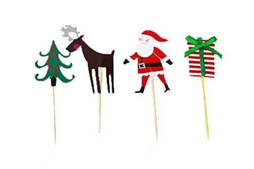 Picks Christmas Kuchen Topper, Kawaii Christmas Eve Cupcake Topper für Thema Party durch kingmia ()