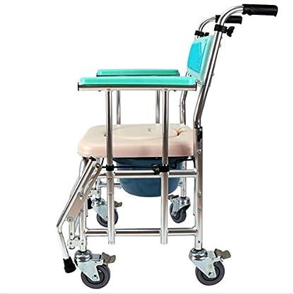 PAP Silla de Ruedas Portátil Plegable de Aleación de Aluminio Y Asiento de Inodoro con Freno de Mano para Discapacitados, Silla de Ducha con Ruedas Y Taburete con Inodoro, Azul, a