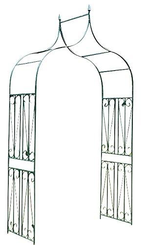 floristikvergleich.de CLP Geschwungener spitz zulaufender Eisen-Rosenbogen I Torbogen aus Metall mit stilvollen Verzierungen I Rankhilfe im Landhausstil I In zwei Größen erhältlich ca. Tiefe 60 cm, Breite 130 cm, Höhe 265 cm