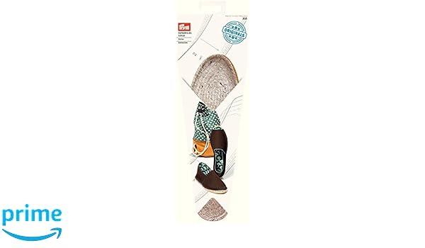 Prym Espadrille in tessuto con Base in gomma, suola da cucito, paglia e iuta, colore: naturale, misura UK 7/EU 41, 1 paio