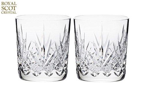 Royal Scot Crystal Highland Lot de 2 verres à whisky en cristal Grand 11 oz, avec boîte cadeau Noir
