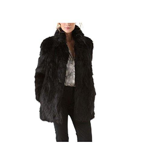 Huaishu Fourrure Femme Long Manteau Solide Simple Fausse Fourrure Veste Survêtement Manches Longues Hiver Pardessus