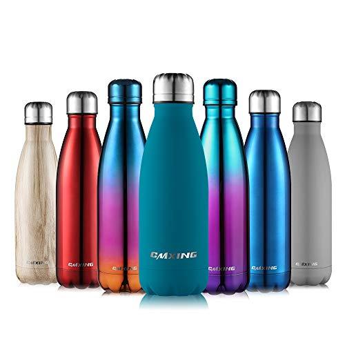 CMXING Bottiglia Termica 500ml/ 750ml Doppia Parete Borraccia Acciaio Inox Non Tossico BPA Gratuito Sport Borracce Bottiglia Acqua