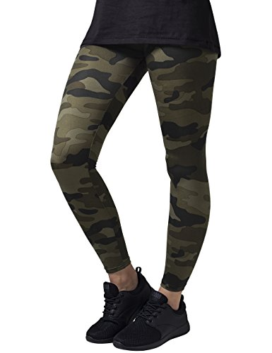 Camo Damen T-shirt (Urban Classics Damen und Mädchen Camo Leggings, lange Camouflage Sporthose für Frauen, Yogahose, wood camo, S)