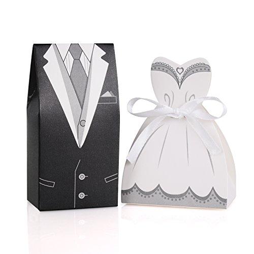 Wolfteeth 200 pezzi bomboniere porta confetti portaconfetti scatola di caramelle per matrimonio decorazioni 100 pz sposo e 100 pz sposa