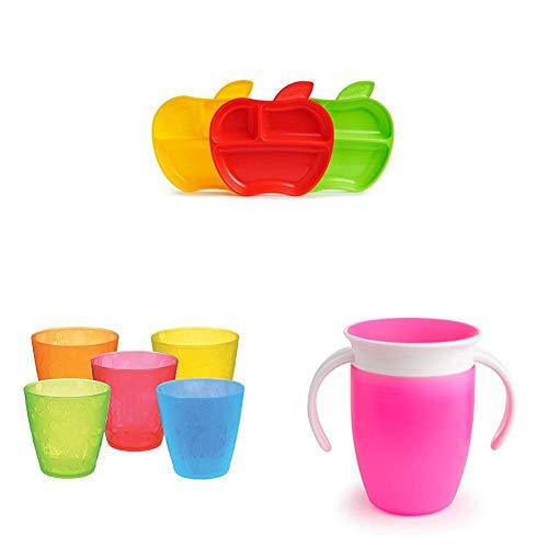 Apple-teller-set (Munchkin Kleinkind-Geschirrset mit Apfelteller und Trinklernbecher, rosa)