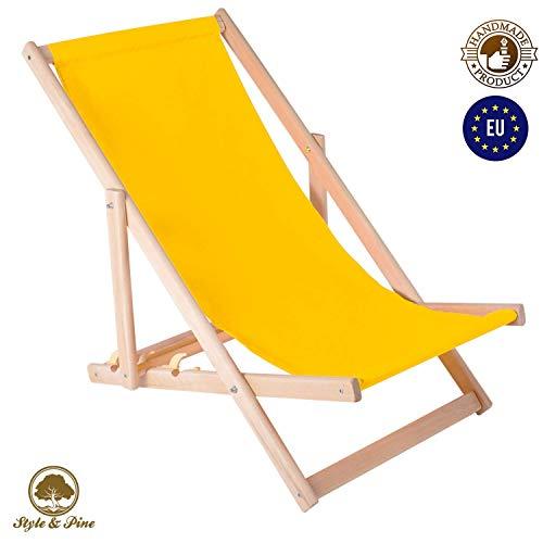 Amazinggirl Liegestuhl klappbar aus Holz Liege - Relaxliege für Garten Balkon Gartenliege Strandstuhl Liegen Gartenmöbel (1 Stück, Gelb)