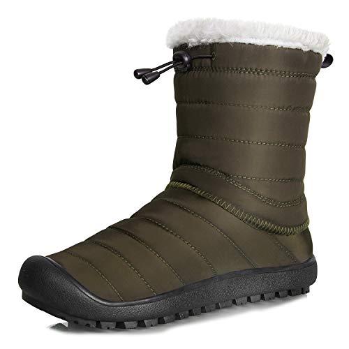 IceUnicorn Herren Damen Winterschuhe Outdoor Schneestiefel Slip On Komfort Boots Stiefel Winter Knöchelhoch(High Top Armeegrün,44EU) (Frauen High-top-stiefel)