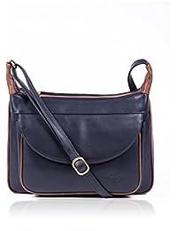 878633092092 Luxury Women s Gigi Colourblock Navy  Brown Leather Shoulder Bag best  selling ladies fashion