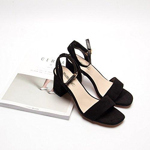 XY&GKDamen Sommer Sandalen im Sommer mit Schnalle Schwarz Fuß mit high-heeled Sandalen Rom, komfortabel und schön 37 black