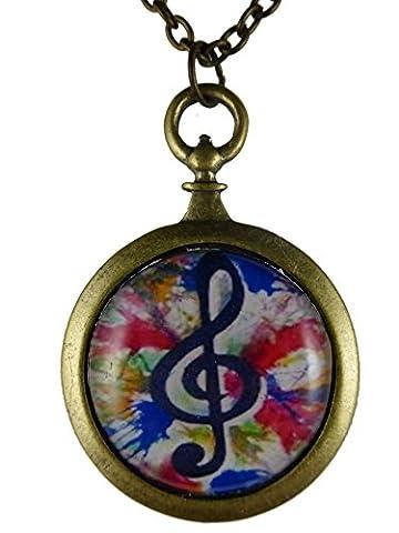 Kette Halskette messingfarben Vintage Taschenuhr Silhouette Musik Notenschlüssel Note bunt 761