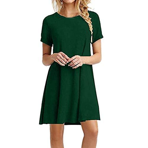(B-commerce Mode Gerade Schlank Kleid - Damen Solide O Neck Kurzarm Lässige Swing Lose Kleid A Line T-Shirt Swing Sommerkleid für Damen)