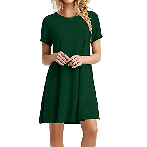 VJGOAL Damen Kleider, Frauen Elegant Einfach Klassisch Volltonfarbe Kleiden Sommer Mode Rundhalsausschnitt Kurze Ärmel Strandrock Minikleid Women's Dress(Grün,XXL)