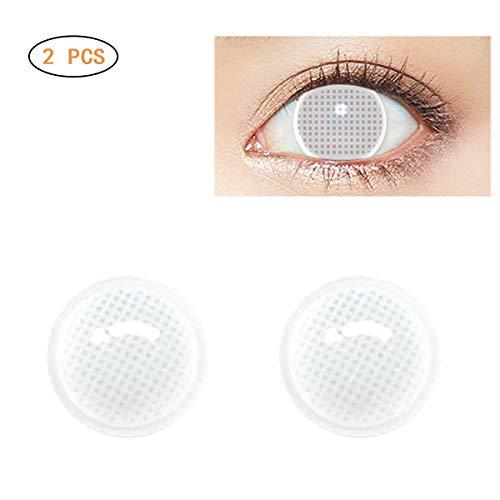 Kontaktlinsen Kostüm Katze Weiße - EisEyen 1Paar Weiß Farblinsen Kontaktlinsen Gitternetz zum Kostüm Party