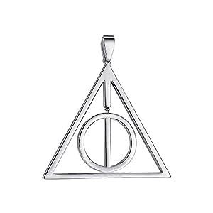 Emma Gioielli – Damen Herren Unisex Edelstahl Halskette Kette Anhänger Harry Potter Heiligtümer des Todes Symbol – Geschenkbox