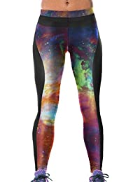 Lovelife' Women Rainbow Galaxy Digital Printed Yoga Workout Capri Leggings