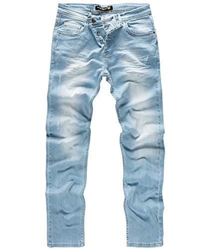 Rock Creek W29-W44 - Jeans da Uomo in Denim Elasticizzato, Regular Fit, Slavato Rc-331-hellblau 38 W/38 L
