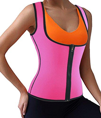 DODOING Damen Zipper Sport Waist Cincher Training Unterbrust Korsage Korsett Corsage Sweat Vest Hot Neopren Sauna Tank Top Weste für (Kostüme Fett Zum)