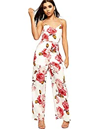 dcfbc8cb50f0 WearAll Women s Sleeveless Strappy Jumpsuit Ladies Floral Print Trousers  Side Slit 8-14