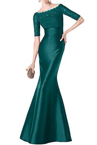 TOSKANA BRAUT Glamour Mermaid Abendkleider Lang Satin mit Spitze Brautmutterkleider Partykleider Tinte Blau