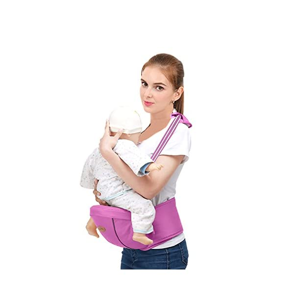 SONARIN Multifunctional Hipseat Baby Carrier,Free Size,Toddler Hip Seat Carrier,Front Carrier Belt,4 Carrying Positions,Adapted to Your Child's Growing,Ideal Gift(Purple) SONARIN Applicable age and Weight:0-36 months of baby, the maximum load: 20KG, and adjustable the waist size can be up to 45.3 inches (about 115cm). Material:designers carefully selected comfortable and cool polyester fabric, light, tear-resistant, breathable,Inner pad : EPP Foam,safe and no deformation. Description:Sturdy buckle and inner soft padded ensuring baby safety and parent's comfort.It takes 1 second to put on.Nothing is more convenient.Side with small pockets, in order to store handkerchiefs, wallets and mobile phones and other small items. 2