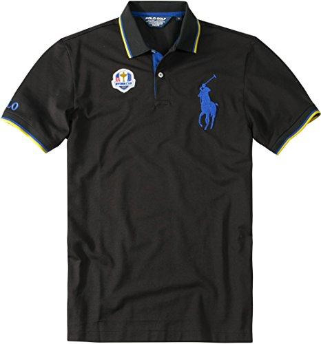 Ralph Lauren Golf Herren Polo-Shirt Baumwolle & Mix T-Shirt Unifarben, Größe: S, Farbe: Schwarz - Ralph Lauren Herren-oberteile