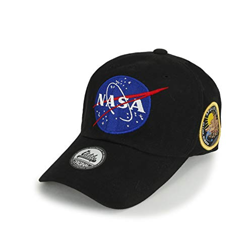 ililily NASA Meatball abgebildet im Logo Stickerei Baseball Cap Apollo 13 Flicken Trucker Cap Hut, Black