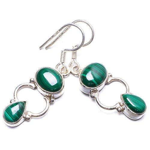 StarGems(tm) 925er Sterling Silber Malachite Einzigartig Handgefertigt Ohrringe 3,81cm Green Y2538