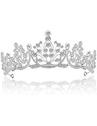 GuKKK Wedding Tiara Nupcial Corona, Princesa Rinestone Coronas Venda Hairband de Nupcial Niña Mujer Partido Cumpleaños (Plata)