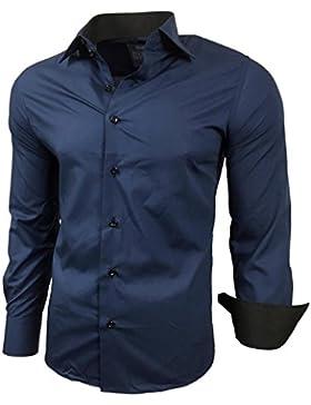 Kontrast Business Anzug Freizeit Polo Slim Fit Figurbetont Hemd Langarmhemd R-44