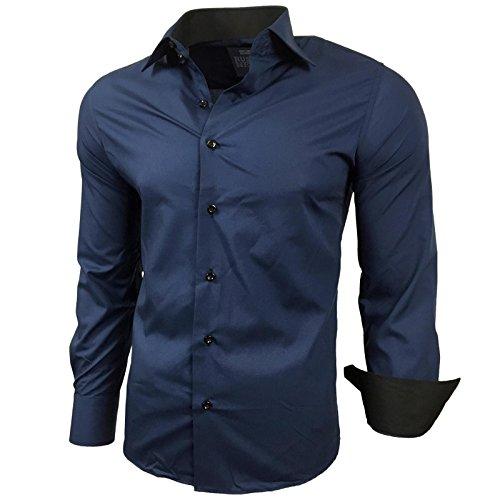 Kontrast Business Anzug Freizeit Polo Slim Fit Figurbetont Hemd Langarmhemd R-44, Farbe:Marine;Größe:L