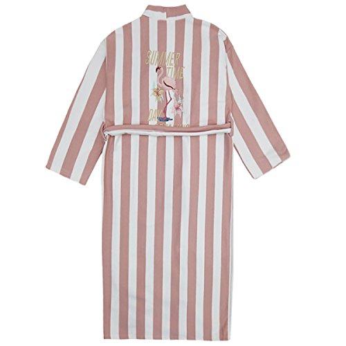 Donna / Uomo Unisex Autunno / Inverno Flanella Accogliente Calda Casa Accappatoio Accappatoio Pigiama Spessa Calda Rosa Striscia Flamingo Pink