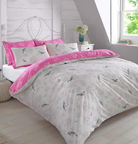 Dreamscene Luxuriöse Vintage Birds Bettwäsche Set mit Kissenbezüge, Polyester/Baumwolle, Pink, Double -