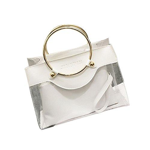 Borsa donne , feiXIANG Moda donna chiaro borsa Jelly Candy estate borsa madre pacchetto,pelle artificiale + plastica (Beige) Bianco