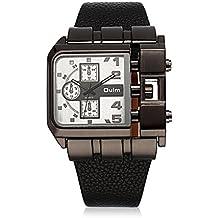 iWatch Hombre Reloj de pulsera cuarzo japonés analógico Diseño único reloj de ocio con blanco esfera cuadrada y negro pulsera de piel