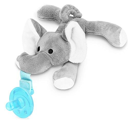 Zooawa Baby Schnuller - Silikon Schnullertier Kinder Kreativ Sauger pacifier Beruhigungssauger mit abnehmbaren Elefanten für 0 bis 18 Monate, Mädchen,Junge, BPA frei, Zahnfreundlich, Grau