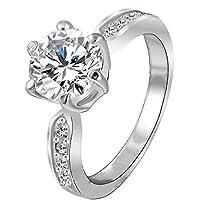 Kate Princess Wedding Ring Platinum Plated Clear Zircon