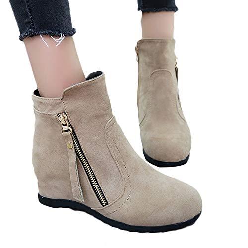 OSYARD Damen Ankle Stiefeletten Kurze Booties Winter Elegant Schlauchstiefel, Wildleder Rund Toe Frauen Schuh Shoes Mode Einfarbig Stiefel Erhöhen Hohe Boots (240/39, Khaki)