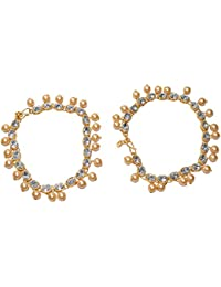 Jewels Kafe Antique Gold Plated Pearls Anklet/Payal For Women & Girls (Pack Of 2)