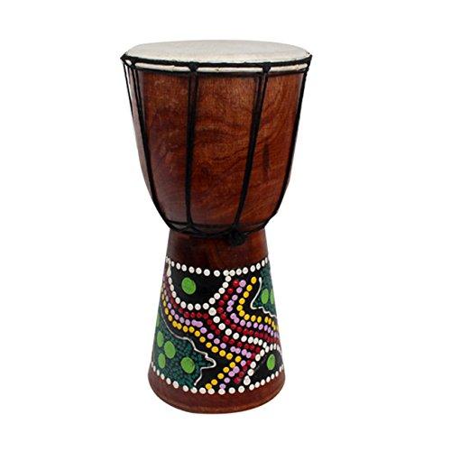 Elviray Tamburo a percussione di Djembe Africano da 4 Pollici Tamburo di Tamburo di Jambe Doumbek in Legno Mogano con Motivo Pelle di Capra Pura Superf