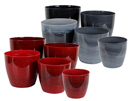 5-er Set Pflanzentopf Blumentopf Vase verschiedene Farben und Größen NEU (Bordeaux-Marmoriert)