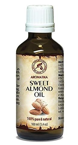 Huile d'amande douce pressée à froid 100 ml 100% Pure et naturelle, bouteille en verre, huile de base, Afrique du Sud, riche en rétinol, vitamine E, huile corporelle, soins intensifs pour le visage, le corps, les cheveux, la peau, les ongles, les mains, Anti-vieillissement pur avec huile essentielle / beauté / aromathérapie / détente / massage / bien-être / cosmétiques / soin du corps / relaxation / non dilué / épice qualité / inodore / médicament alternatif d'AROMATIKA