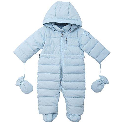 Oceankids Tuta monopezzo / tuta da neve / da passeggino con cappuccio, blu da bambino e bambina 0-3 Mesi