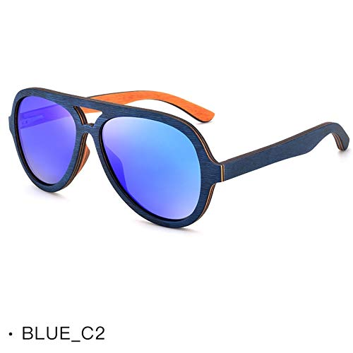 LKVNHP Zebra Holz Sonnenbrillen für Männer und Frauen, Polarized Lens Holz Sonnenbrille UV400 Oversize Sonnenbrilleblau