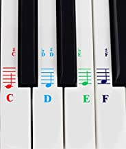 Piano Stickers for All White Keys (49/61/76/88 Key Keyboards) – Transparent and Removable, Free Piano Ebook
